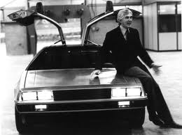 John DeLorean with the famous design built in West Belfast